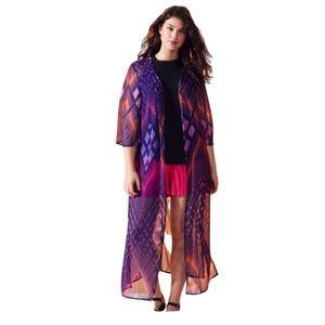 Simply Be Longline Pink and Blue Kimono